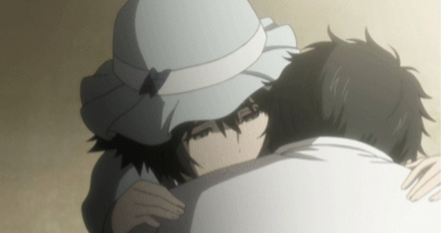 オカリンを抱きしめてるまゆり
