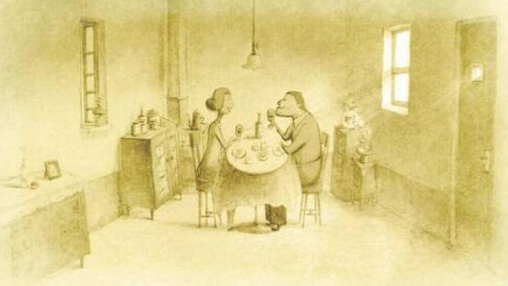 妻と食卓を囲んでいるお爺さん