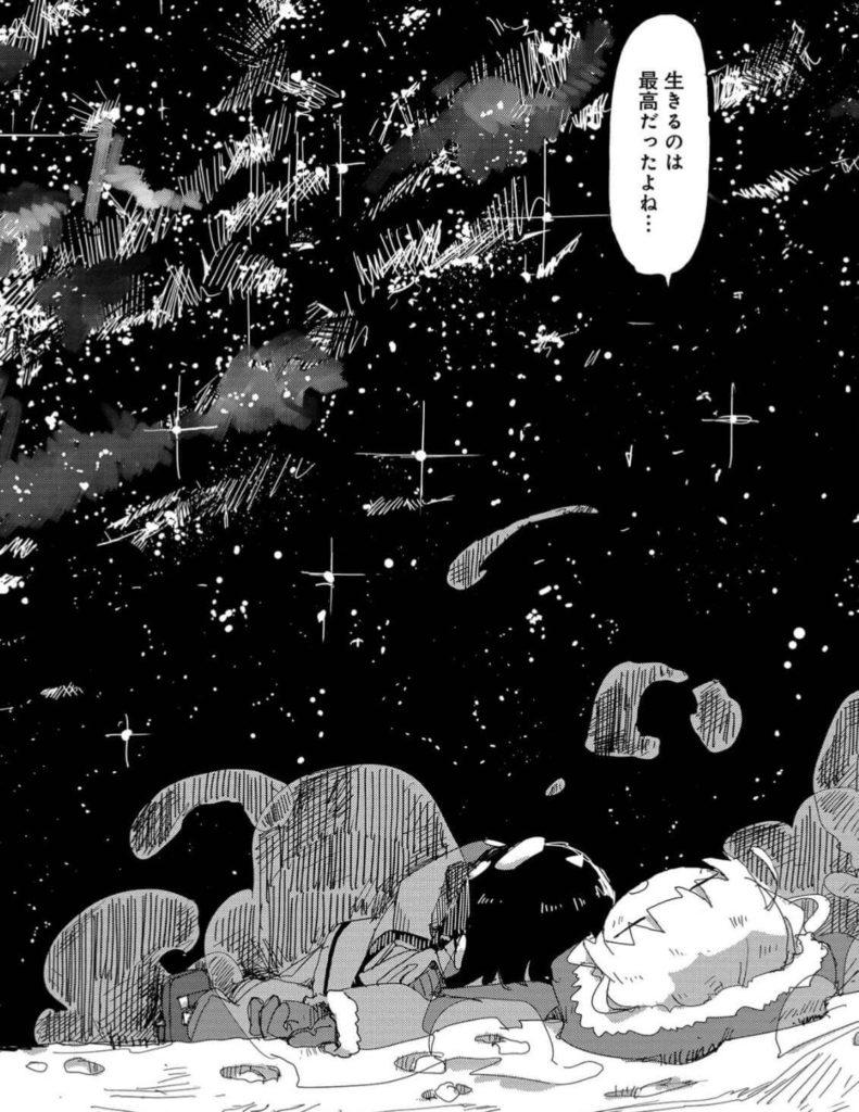 夜空を見上げるチトとユーリ